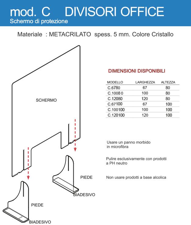 Schermo di protezione in Plexi Modello C